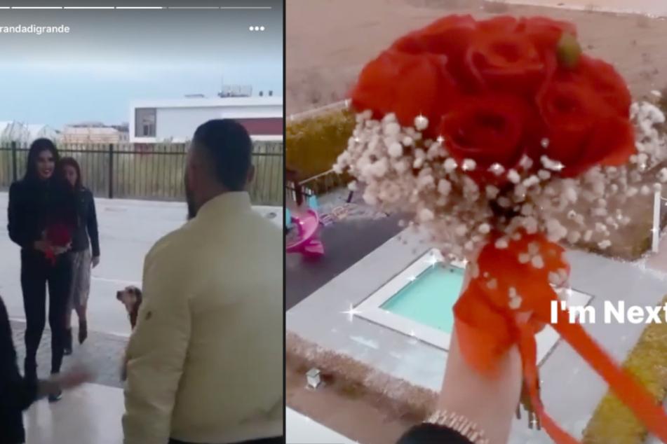 Auf dem Video ist zu sehen, wie Natahlie (23) vor den Augen Timurs (42) den Brautstrauß fängt.