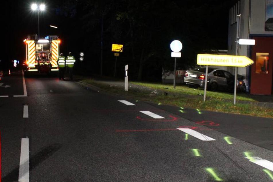 Das Bild zeigt den Unfallort in der Gemeinde Weyerbusch.