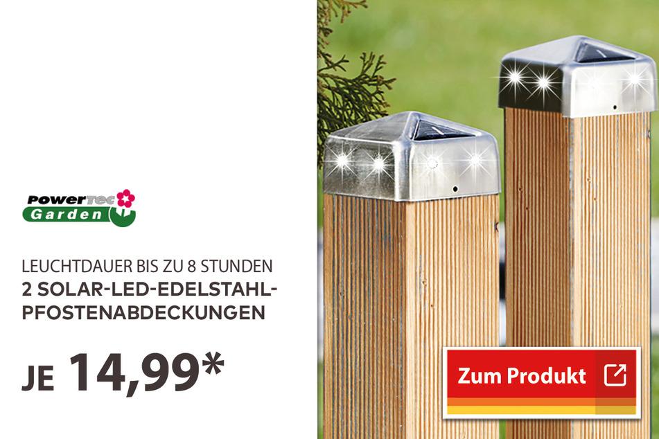 Solar-LED-Edelstahl-Pfostenabdeckung 2er-Set für 14,99 Euro.