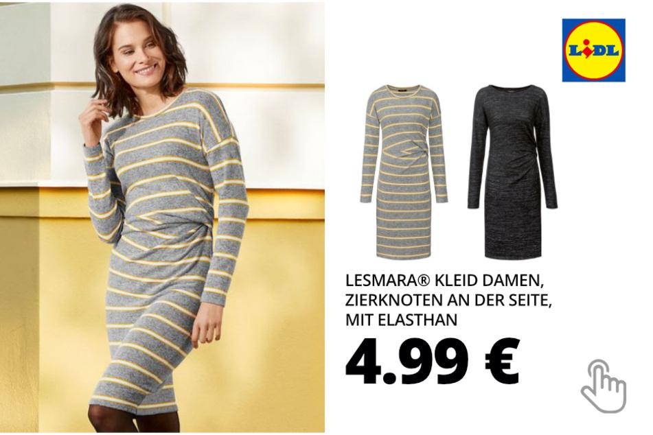 ESMARA® Kleid Damen, Zierknoten an der Seite, mit Elasthan
