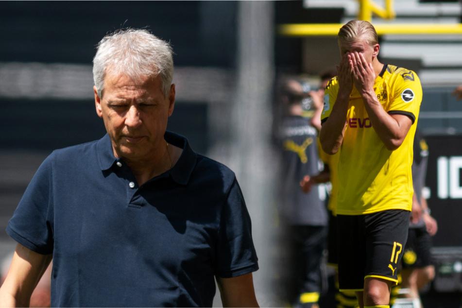 BVB-Coach Lucien Favre (l.) sorgte mit seinen Aussagen nach dem Spiel für Stirnrunzeln.