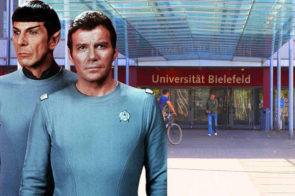 Captain James T. Kirk (rechts), Commander des Raumschiffes Enterprise, und Crewmitglied Spock wohl dazu sagen würden, dass die Uni Bielefeld den Traktorstrahl in die Realität geholt hat.