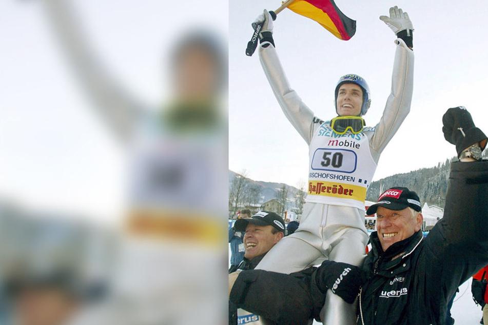 Sven Hannawald beim Finale der Vierschanzentournee 2002 in Bischofshofen.