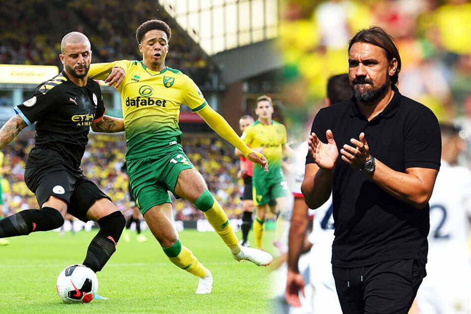 Für Trainer Daniel Farke (r.) und Norwich City ist es die erwartet schwere Saison in der Premier League.