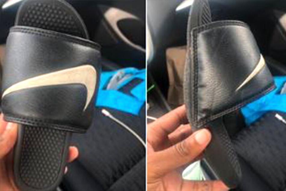 Größe 9? Die Frau dachte zunächst, sie hätte Schuhe fremde Kinderschlappen in ihrem Auto.