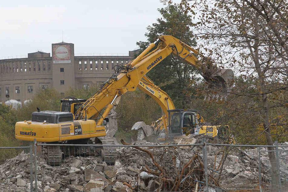 Hier stand mal ein ganzes Wohngebiet: Abrissbagger zerlegen 2011 das  Wohngebiet Rudolf-Bergander-Ring in Reick.