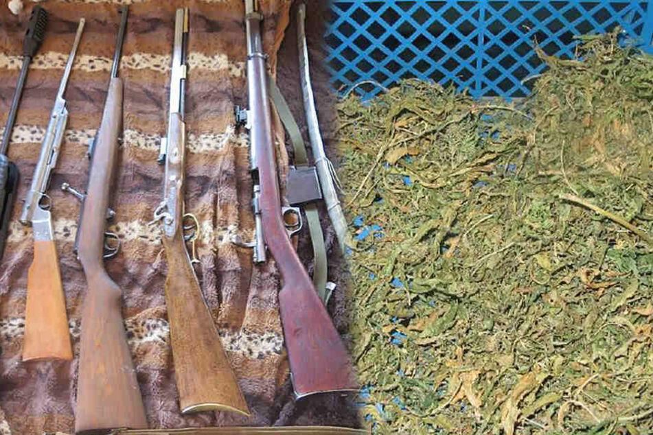 Jede Menge Waffen und Drogen bei Durchsuchung gefunden