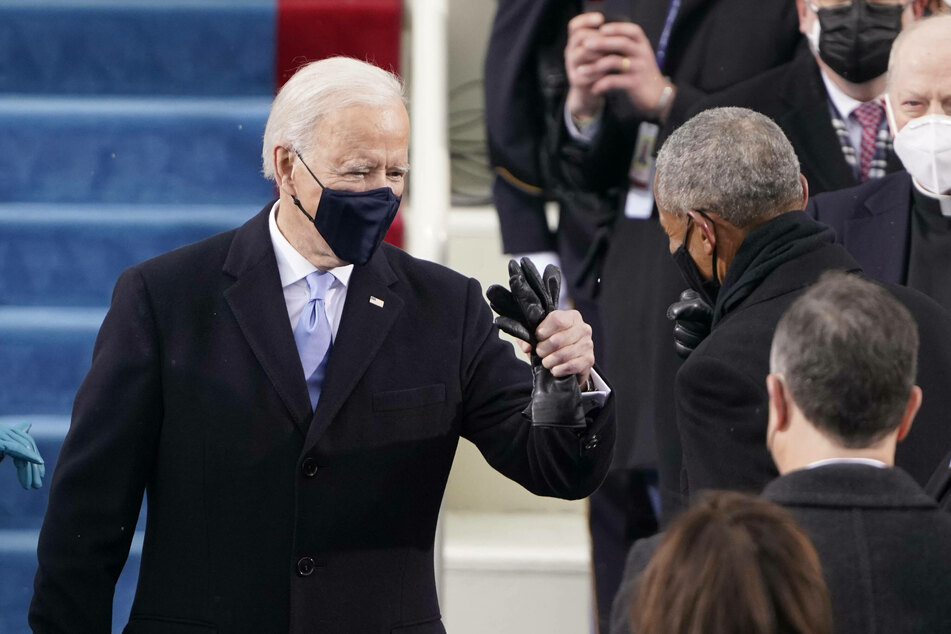 President Biden with former president Obama before the swearing in ceremony.