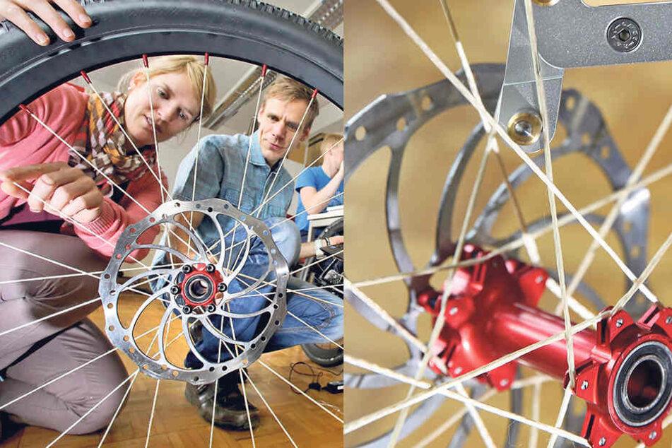 Aus Textilfasern: Forscher der TU Chemnitz haben den Prototyp eines Rades entwickelt. Das ist bis zu 200 Gramm leichter als herkömmliche Räder.