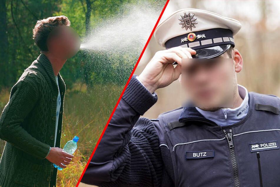 Hier ist es zum Glück nur Wasser! In Minden bekam ein Polizist aber echte Spucke ab (Symbolbild).