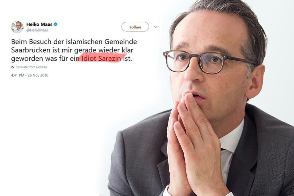 """Maas twitterte 2010: """"Beim Besuch der islamischen Gemeinde Saarbrücken ist mir gerade wieder klar geworden was für ein Idiot Sarazin ist."""" (falsche Rechtschreibung beibehalten)"""