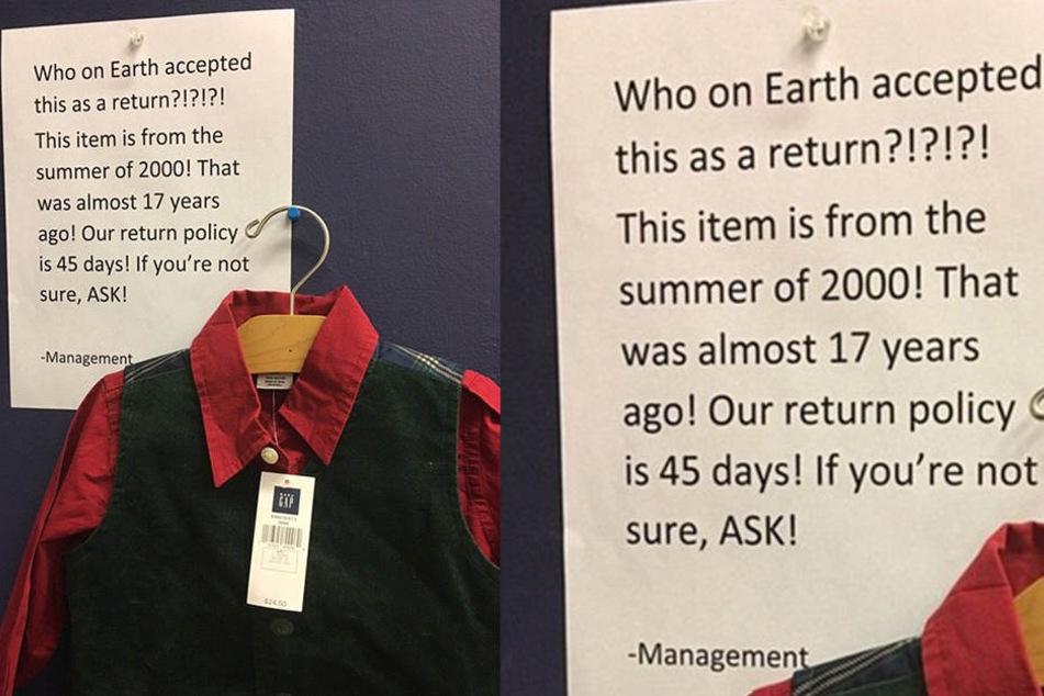 Dieses Hemd ist ganz 17 Jahre alt! Ein Kunde konnte es bei GAP allerdings trotzdem zurückgeben.
