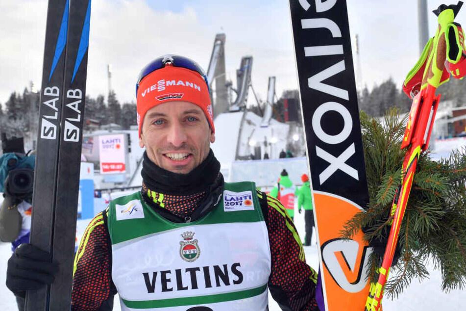 Der Johanngeorgenstädter Björn Kircheisen holte sich nach insgesamt elfmal  Silber und Bronze in Lahti endlich sein langersehntes erstes WM-Gold - im Team  zusammen mit Johannes Rydzek, Eric Frenzel und Fabian Rießle
