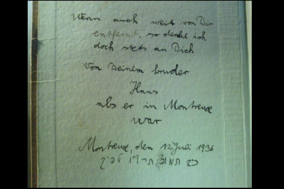 """""""Wenn auch weit von dir entfernt, so denke ich doch stets an Dich. Von Deinem Bruder Hans als er in Montreux war. Montreux, den 12. Juli 1936"""""""
