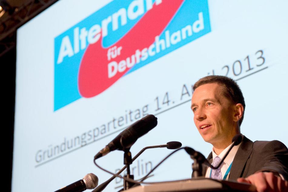 Bernd Lucke spricht während des Gründungsparteitages der Partei AfD zu den Mitgliedern.