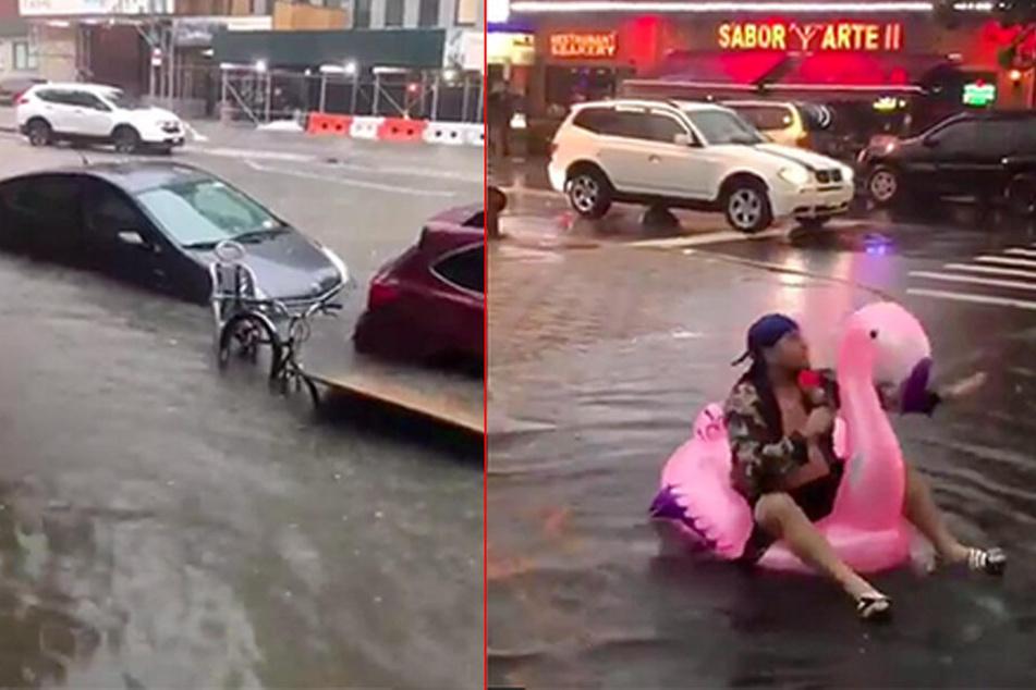 Während in New York die Autos in den Fluten versanken, nahmen es einige Menschen mit Humor.