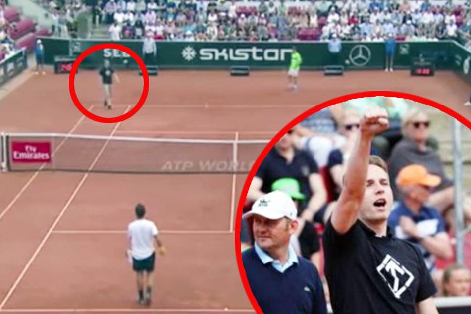 """Nazi-Skandal beim Tennis: Hier läuft ein Mann auf den Platz und schreit """"Sieg Heil"""""""