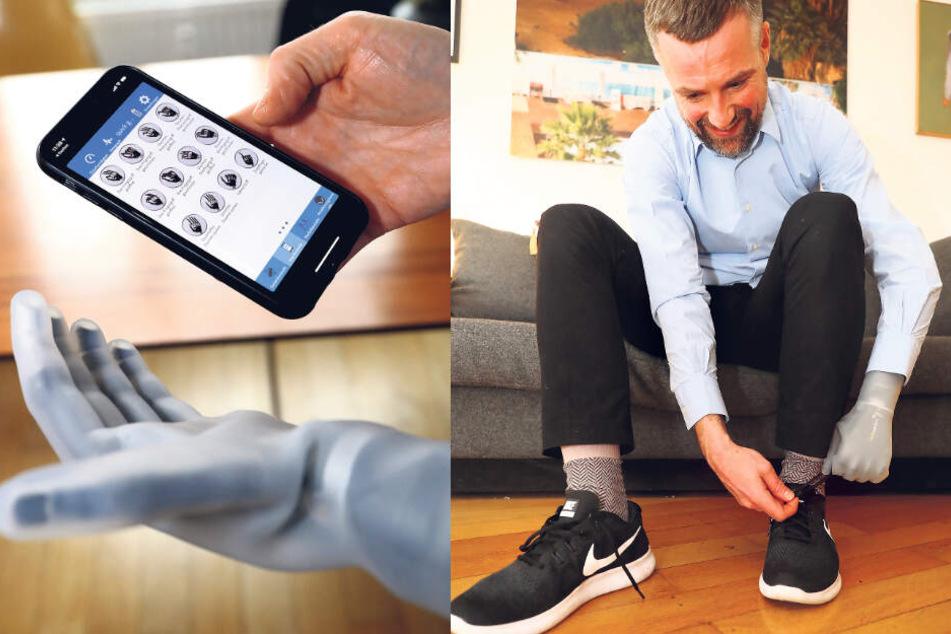 Auch per Handy-App lässt sich die Prothese steuern. Sogar das Binden der Schuhe klappt.