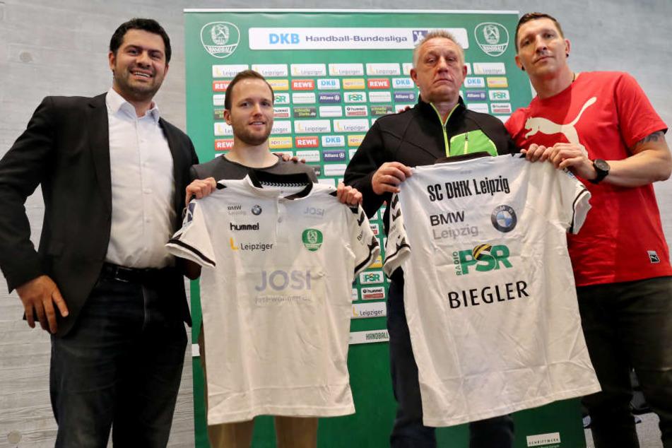 Eigentlich sollte Michael Biegler (2.v.r.) am 1. Januar 2018 den ehemaligen Co- und jetzigen Interimstrainer André Haber (2.v.l.) ersetzen.