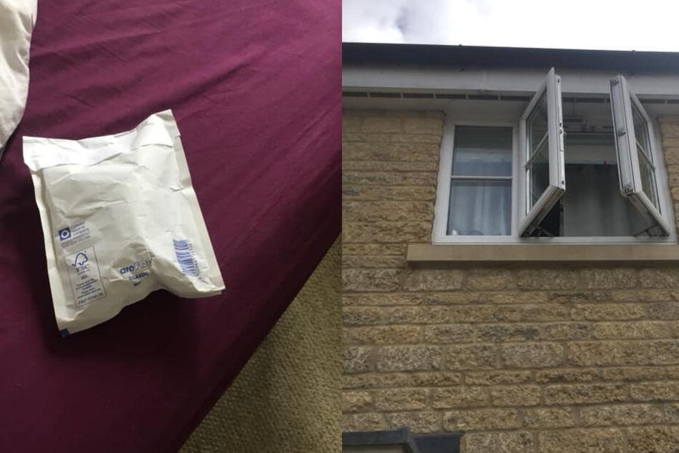 Der Postbote hatte das Paket durch Fenster ins Schlafzimmer geworfen.