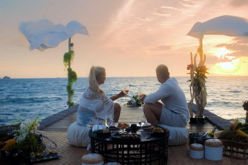 Jade Übach (25) und Filip Pavlovic (25) genossen die Zweisamkeit bei einem romantischen Sonnenuntergang.