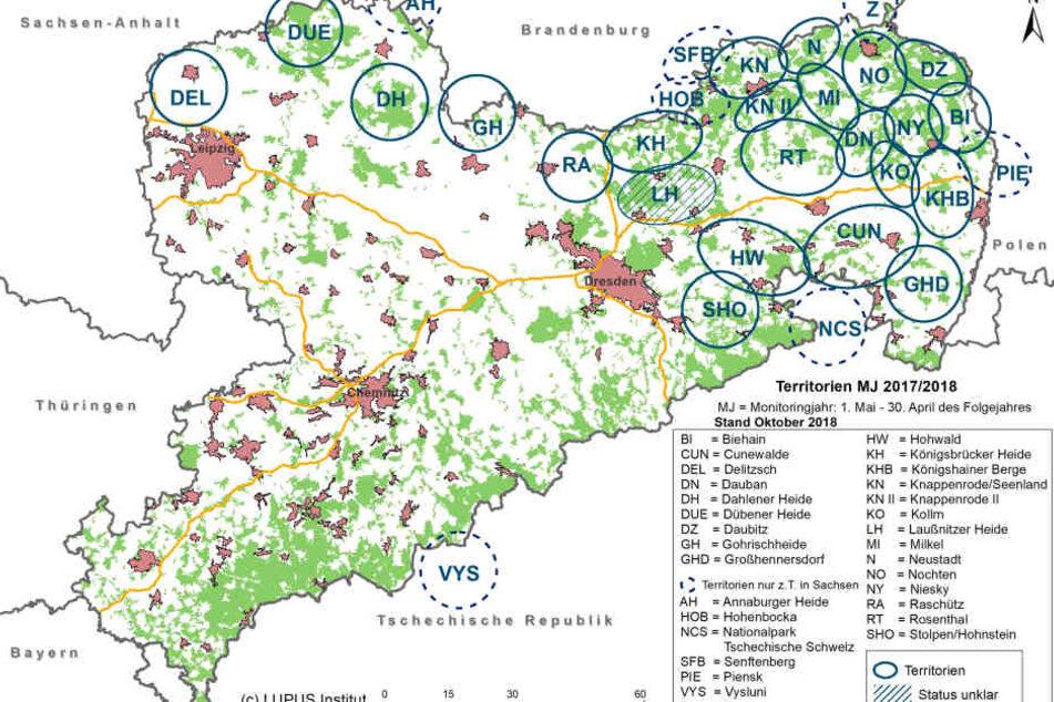 Die Grafik zeigt die Wolfsvorkommen in Sachsen im Monitoringjahr 2017/18 (Stand Oktober 2018).