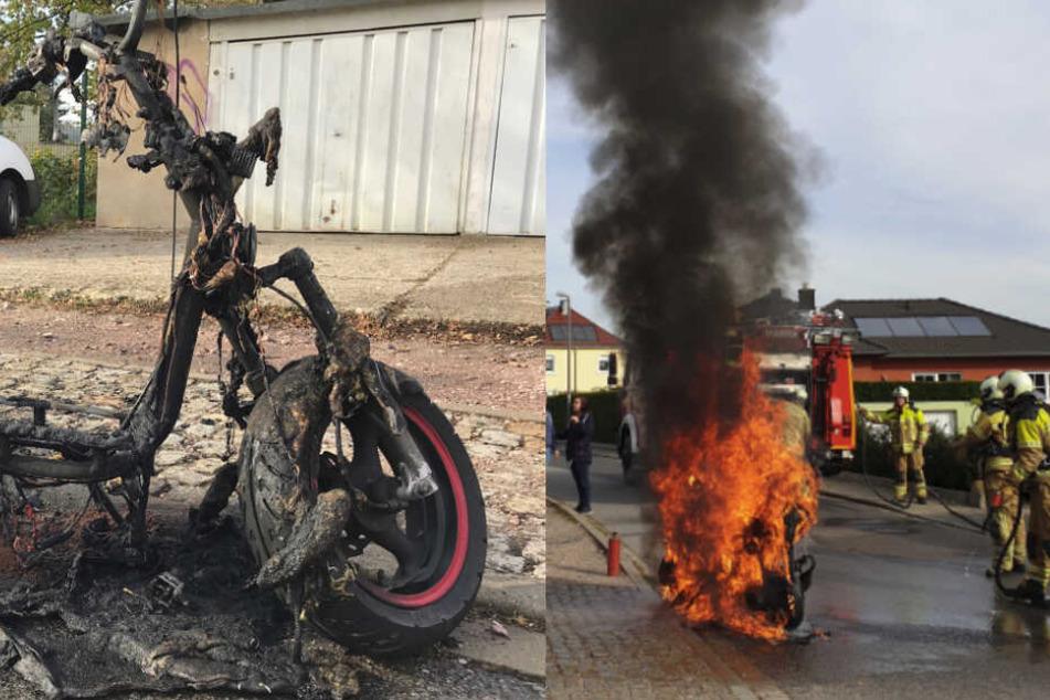 Motorroller brennt während der Fahrt in Cossebaude lichterloh
