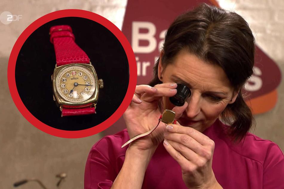 """""""Bares für Rares""""-Expertin Wendela Horz (51) schätzt den Wert der alten Rolex-Uhr auf etwa 2200 bis 2500 Euro."""