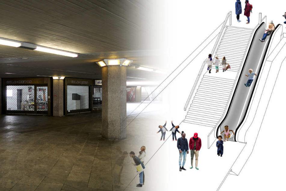 Schöne Idee: Aus einer Rolltreppe am Ebertplatz soll diese Rutsche werden.