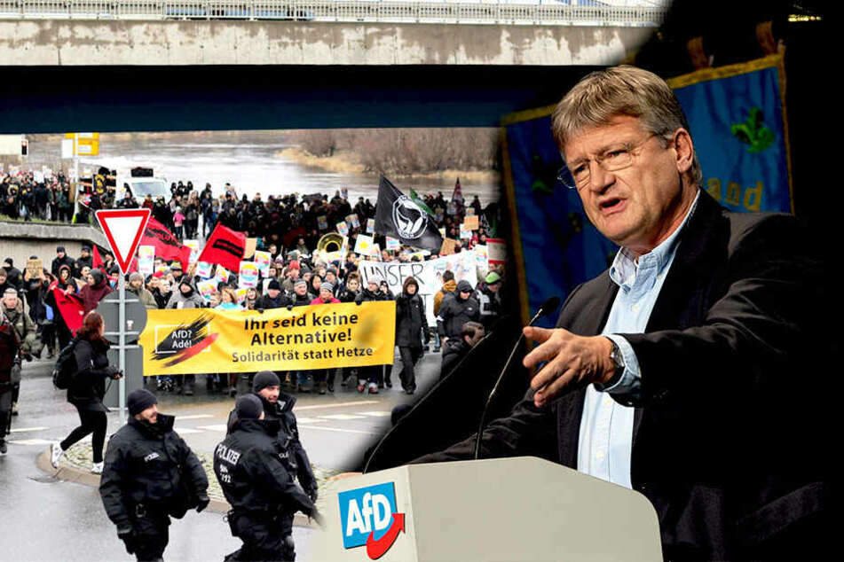 AfD prüft EU-Austritt auf Parteitag: Proteste gestartet