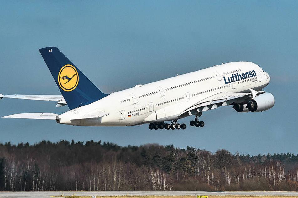 Auf Wiedersehen! Am Mittwoch hob der Airbus A380 nach erfolgreicher Wartung aus Dresden ab.