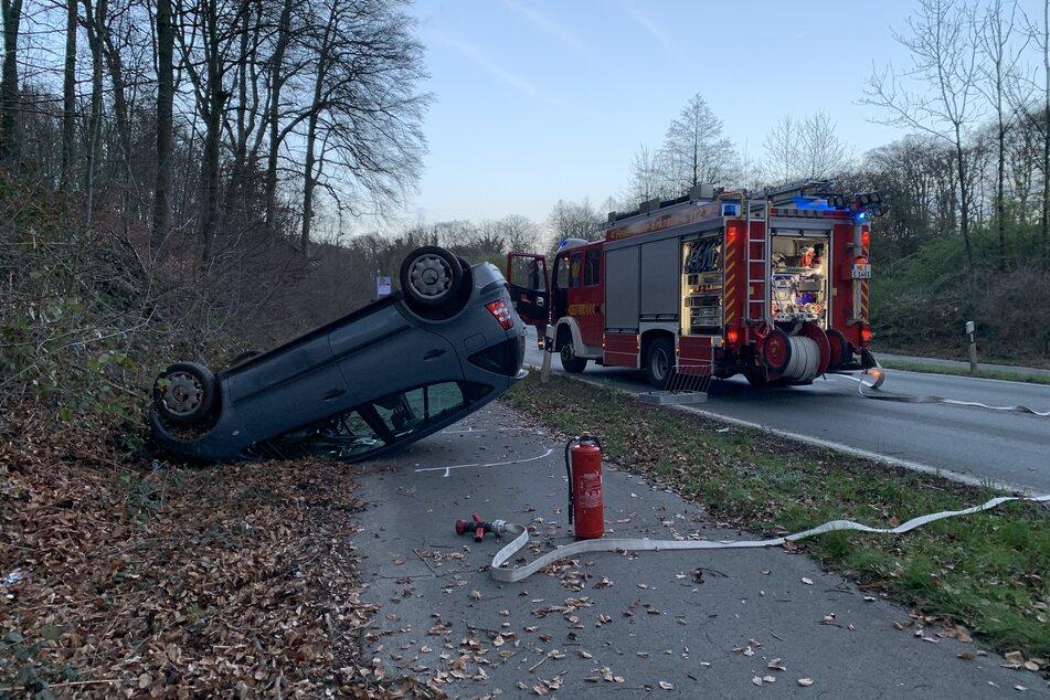 Der Wagen des Unfallverursachers landete auf dem Dach.