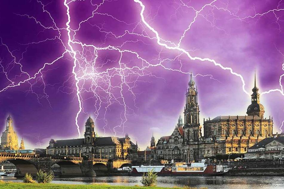 Gibt es am Abend Gewitter in Dresden? (Symbolbild/Montage)