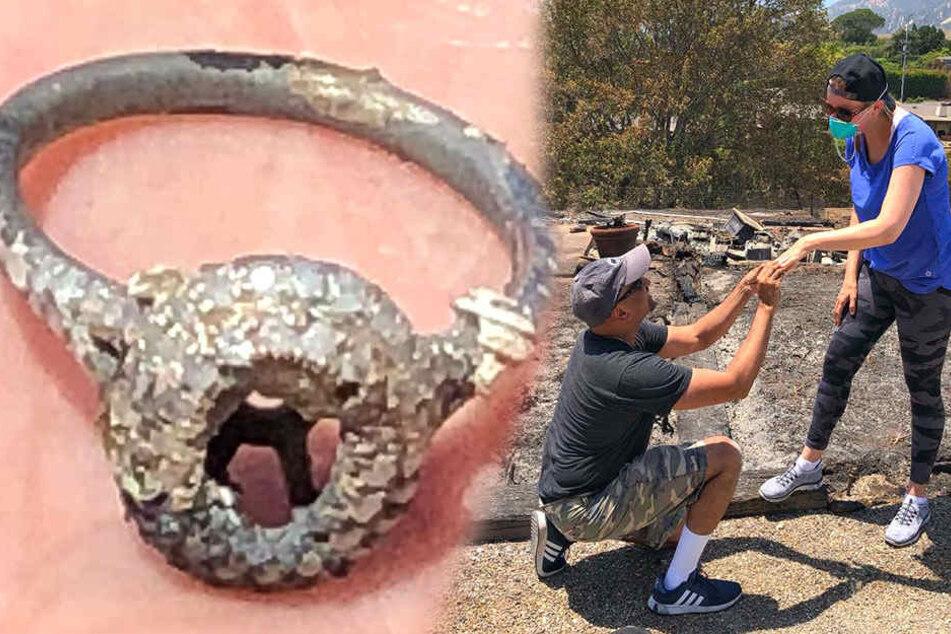 Der verschmorte Ring wurde aus der Asche gezogen. Dann kam es zum Hochzeitsantrag Nummer zwei.