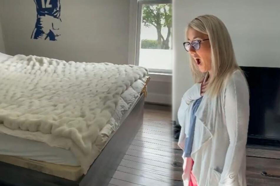 Mother can't believe her eyes as she looks behind her son's bed
