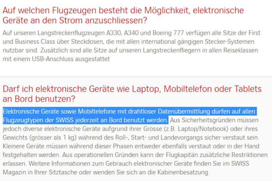 In den häufig gestellten Fragen auf der Swiss-Website erklärt die Airline, dass die Nutzung von Handys jederzeit erlaubt ist.