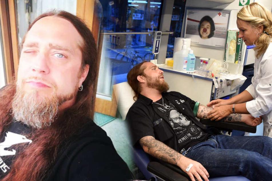 Martin Kesici privat auf seinem Instagram-Account und als fürsorglicher Rocker beim Blutspenden im Jahr 2014. (Bildcollage)