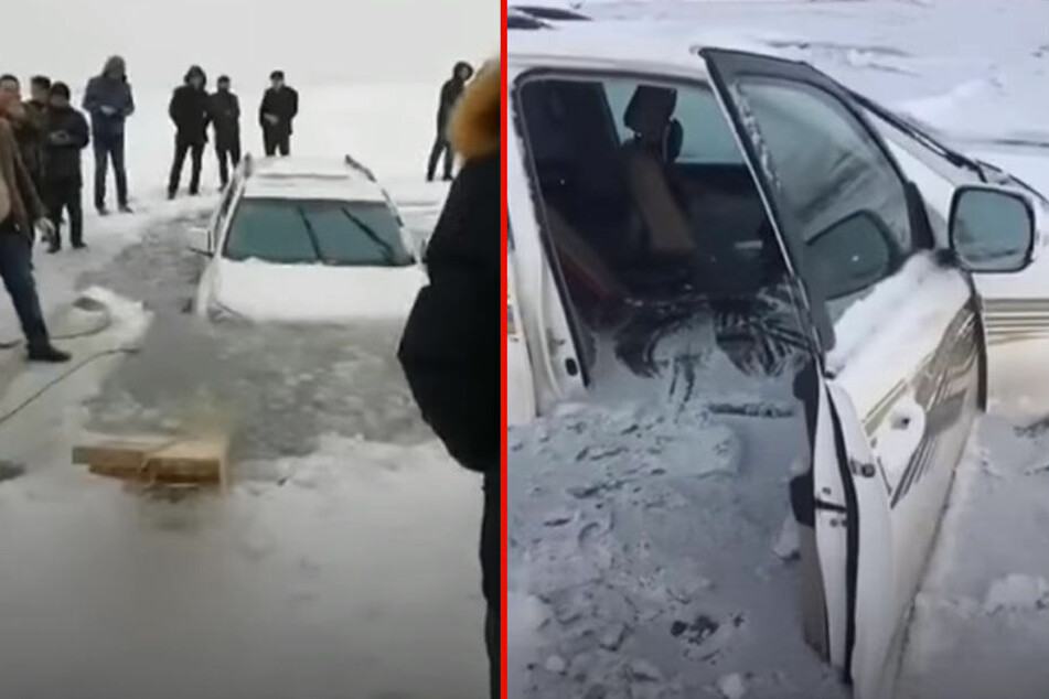 SUV fährt über zugeforenen Stausee, dann bricht plötzlich das Eis