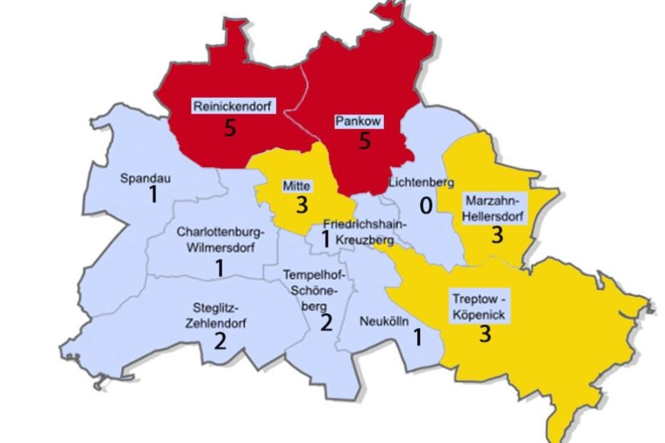 Auf der Karte sind die Anzahl der Funde in den einzelnen Bezirken zu sehen.