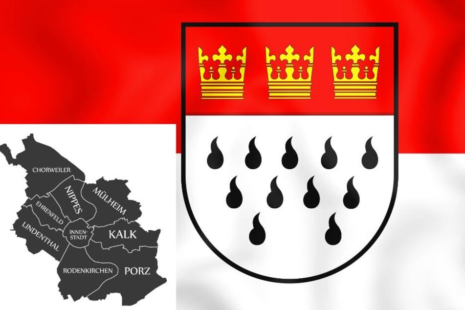 Das Kölner Stadtwappen und die neun Stadtbezirke.