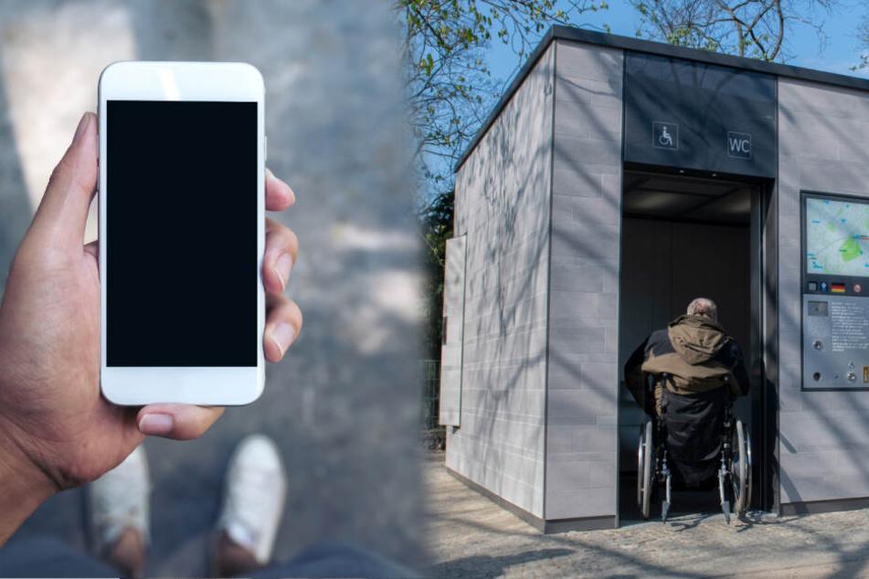 """App oder Cash: Beides ermöglicht den Zugang zu den """"Berliner Toiletten"""". Menschen mit Behinderung haben kostenlosen Zugang. (Bildcollage)"""