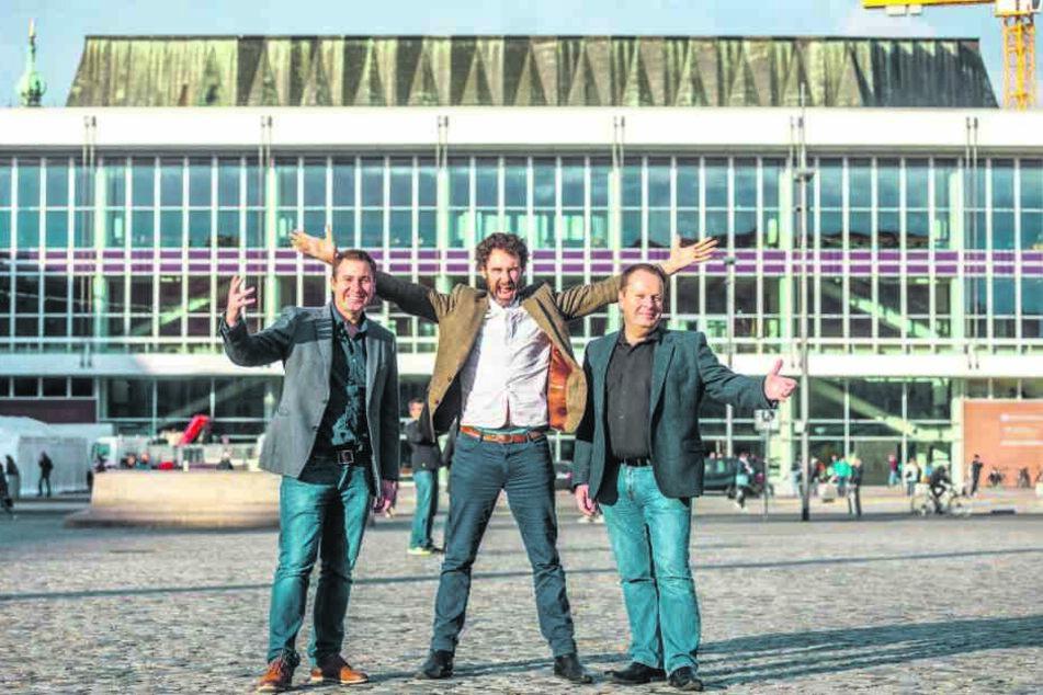 Die Tenöre Daryl Simpson (41, v.l.), Matthew Gilsenan (46) und James Nelson  (53) freuen sich auf ihren Hope-Auftritt im Kulti.