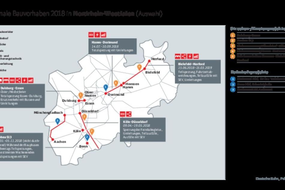 Eine Auswahl der Großprojekte der Deutschen Bahn in diesem Jahr in NRW.
