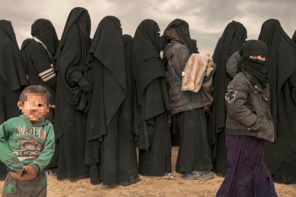 Das Bild aus dem März zeigt Frauen, die aus einem von der Terrormiliz Islamischer Staat (IS) kontrolliertem Gebiet stammen.