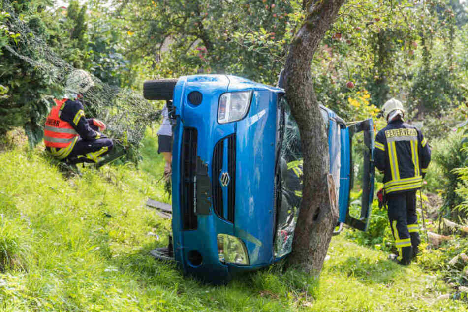 Der Suzuki blieb auf der Seite liegen.