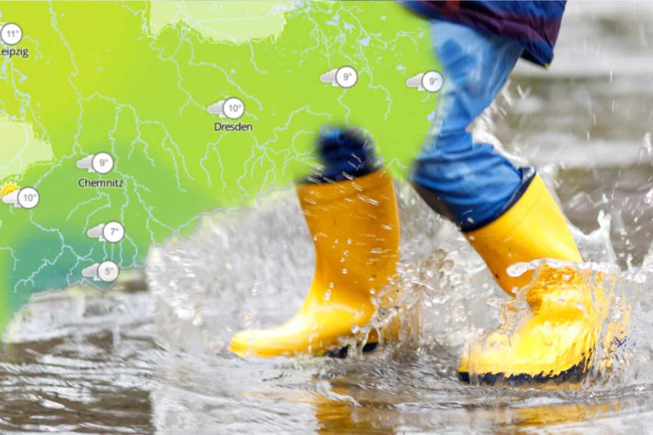 Das Wochenende bringt durchwachsenes Herbstwetter nach Sachsen, Sachsen-Anhalt und Thüringen - Regenschauer inklusive. (Bildmontage)