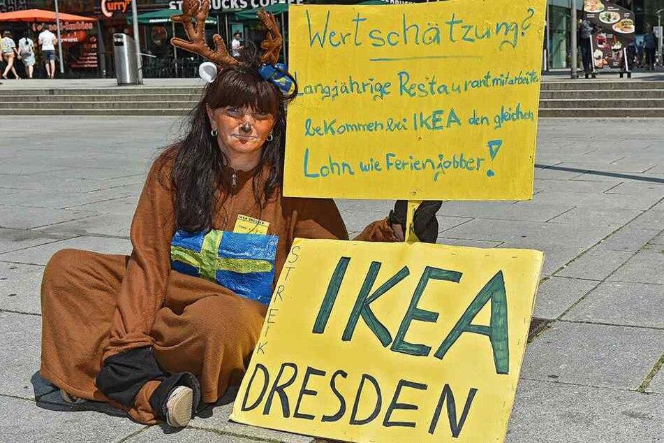 Eine der Streikenden ist Jacqueline Klimke. Sie arbeitet bei Ikea und kämpft auch für mehr Lohn.