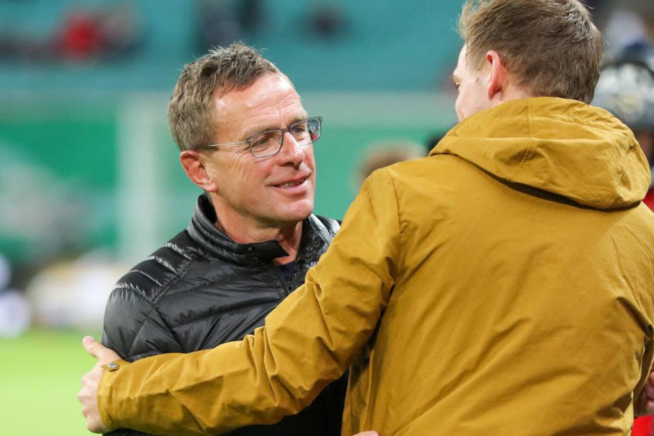 Nächste Saison werden sie bei RB Leipzig zusammenarbeiten: RB-Coach Ralf Rangnick (l.) und TSG-Coach Julian Nagelsmann (r.)