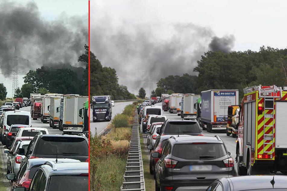 Dunkle Rauchwolke über A4! Vollsperrung nach Feuer auf Autobahn