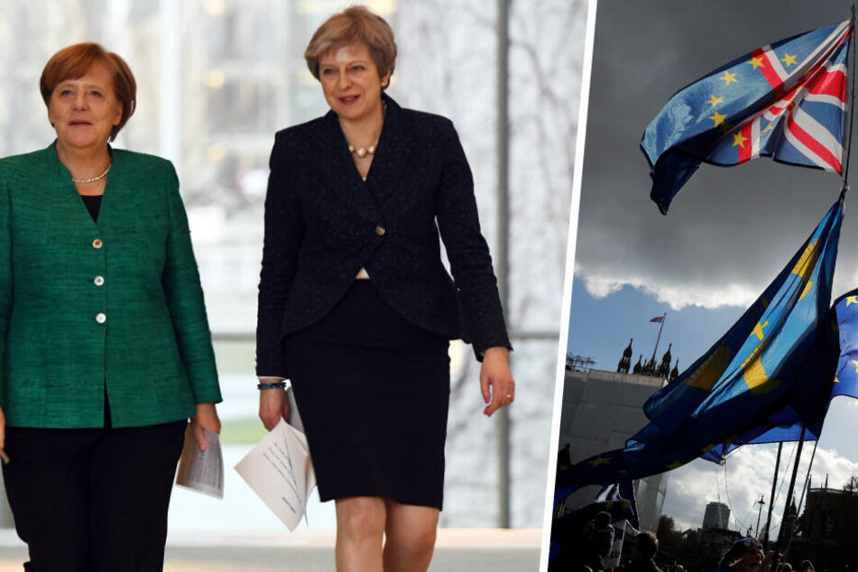 Brexit: Auf dem EU-Araber-Gipfel wird über den Austritt Großbritanniens beraten. Angela Merkel (l.) und Theresa May treffen sich am Montag zur offenen Diskussion. (Bildmontage)